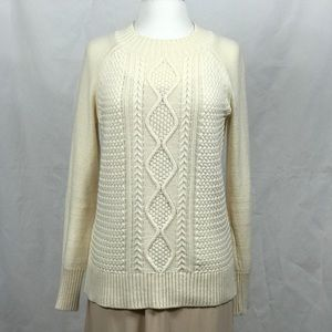 EUC Long Sleeve Cream Wool Blend Knit Sweater